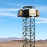 Blighter A800 3D Drone Detection Radar on Tower in Desert (Zoomed In)