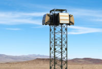 Blighter A800 3D Drone Detection Radar on Tower in Desert (Zoomed In)